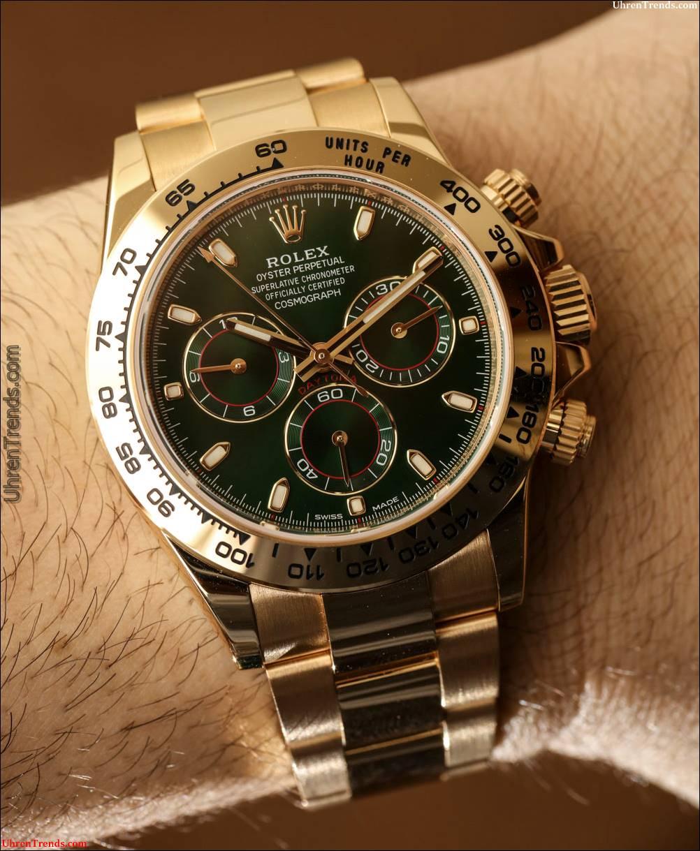Rolex Cosmograph Daytona 116508 Grün Zifferblatt 18 Karat Gelbgold Uhr Hands-On