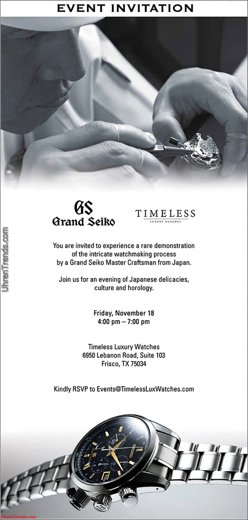Grand Seiko Roadshow bei zeitlosen Luxusuhren in Texas am 18. November 2016